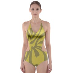 Flower Gray Yellow Cut-Out One Piece Swimsuit
