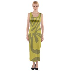 Flower Gray Yellow Fitted Maxi Dress
