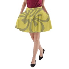 Flower Gray Yellow A-Line Pocket Skirt