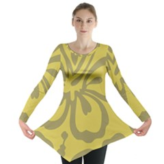 Flower Gray Yellow Long Sleeve Tunic