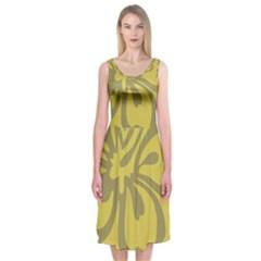 Flower Gray Yellow Midi Sleeveless Dress