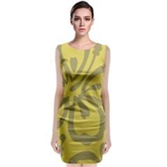 Flower Gray Yellow Classic Sleeveless Midi Dress