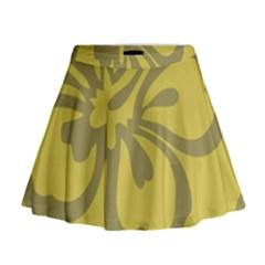 Flower Gray Yellow Mini Flare Skirt
