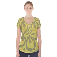 Flower Gray Yellow Short Sleeve Front Detail Top