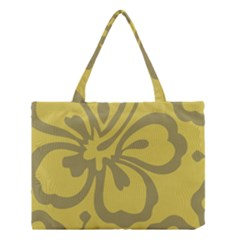 Flower Gray Yellow Medium Tote Bag
