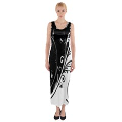 Flower Black White Fitted Maxi Dress