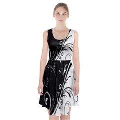 Flower Black White Racerback Midi Dress