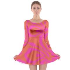 Flower Pink Orange Long Sleeve Skater Dress