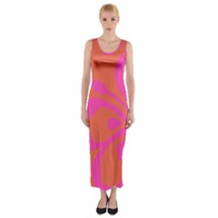 Flower Pink Orange Fitted Maxi Dress