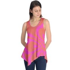 Flower Pink Orange Sleeveless Tunic