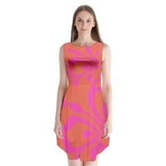 Flower Pink Orange Sleeveless Chiffon Dress