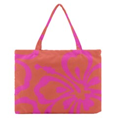 Flower Pink Orange Medium Zipper Tote Bag