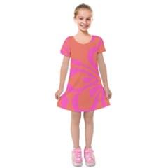Flower Pink Orange Kids  Short Sleeve Velvet Dress