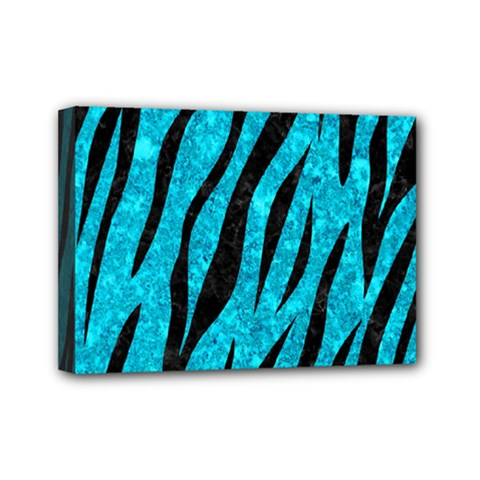 Skin3 Black Marble & Turquoise Marble (r) Mini Canvas 7  X 5  (stretched)