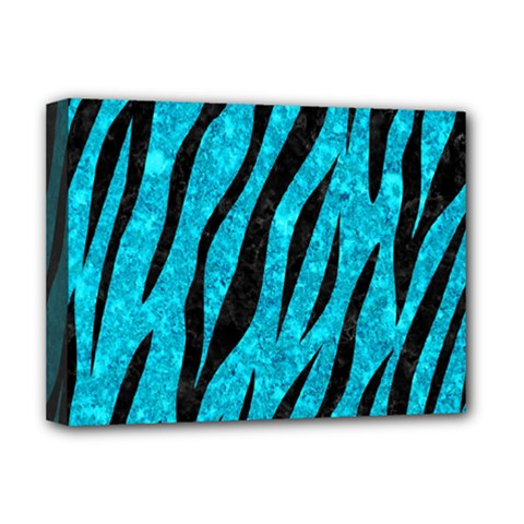 Skin3 Black Marble & Turquoise Marble (r) Deluxe Canvas 16  X 12  (stretched)
