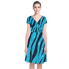 Skin3 Black Marble & Turquoise Marble (r) Short Sleeve Front Wrap Dress
