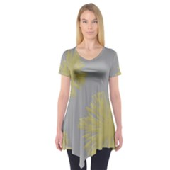 Flower Yellow Gray Short Sleeve Tunic