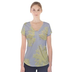 Flower Yellow Gray Short Sleeve Front Detail Top