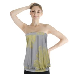 Flower Yellow Gray Strapless Top