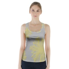 Flower Yellow Gray Racer Back Sports Top