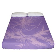 Flower Purple Gray Fitted Sheet (california King Size)