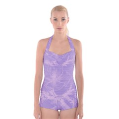 Flower Purple Gray Boyleg Halter Swimsuit