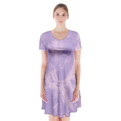 Flower Purple Gray Short Sleeve V-neck Flare Dress