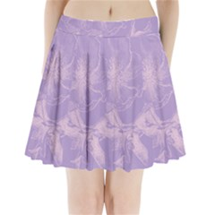Flower Purple Gray Pleated Mini Skirt