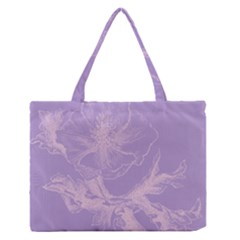 Flower Purple Gray Medium Zipper Tote Bag