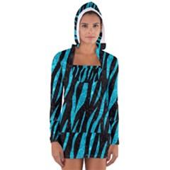 SKN3 BK-TQ MARBLE Women s Long Sleeve Hooded T-shirt