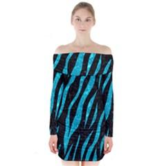 SKN3 BK-TQ MARBLE Long Sleeve Off Shoulder Dress