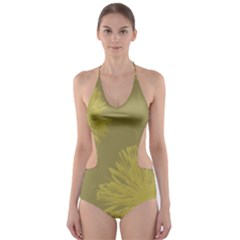 Flower Yelow Cut-Out One Piece Swimsuit