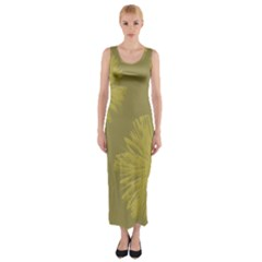 Flower Yelow Fitted Maxi Dress