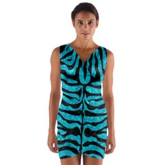 SKN2 BK-TQ MARBLE (R) Wrap Front Bodycon Dress