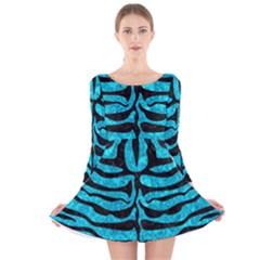 SKN2 BK-TQ MARBLE (R) Long Sleeve Velvet Skater Dress