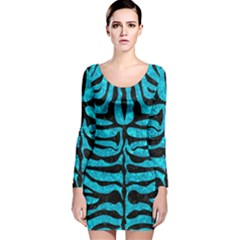 SKN2 BK-TQ MARBLE (R) Long Sleeve Velvet Bodycon Dress