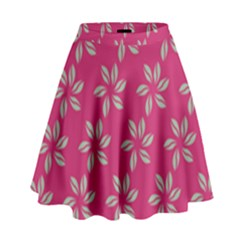 Flowers Green Light On Fushia High Waist Skirt