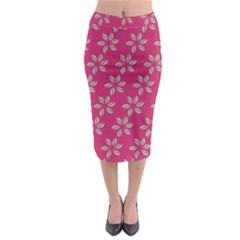 Flowers Green Light On Fushia Midi Pencil Skirt