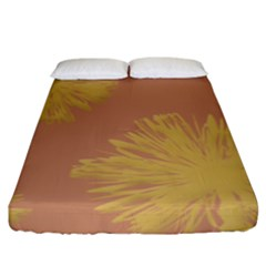 Flower Yellow Brown Fitted Sheet (king Size)