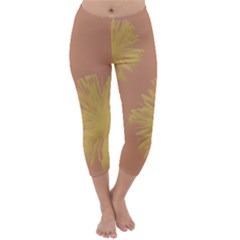 Flower Yellow Brown Capri Winter Leggings