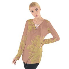 Flower Yellow Brown Women s Tie Up Tee
