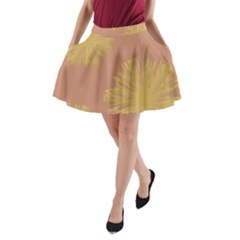 Flower Yellow Brown A-Line Pocket Skirt