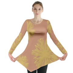Flower Yellow Brown Long Sleeve Tunic
