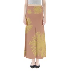 Flower Yellow Brown Maxi Skirts