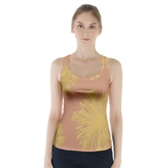 Flower Yellow Brown Racer Back Sports Top
