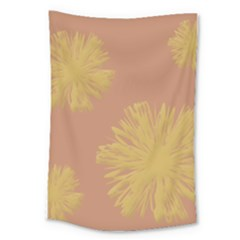 Flower Yellow Brown Large Tapestry