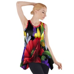 Flowers Bouquet Side Drop Tank Tunic