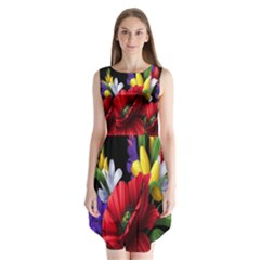 Flowers Bouquet Sleeveless Chiffon Dress