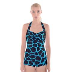 Skin1 Black Marble & Turquoise Marble (r) Boyleg Halter Swimsuit