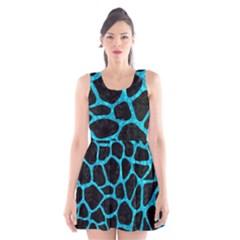 SKN1 BK-TQ MARBLE (R) Scoop Neck Skater Dress